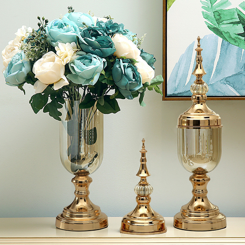 European glass vase crystal ornaments modern minimalist American flower arrangement decorations dining table TV cabinet living