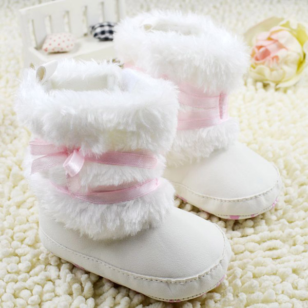 Fashion New Newborn Baby Girls Bowknot Shoes Soft Crib Shoes Toddler Infant Warm Fleece First Walker baby girls shoes Winter