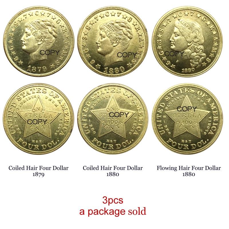 Estados unidos Um Stella 4 400 CENTAVOS de Dólares 3pcs Cabelo Enrolado 1879 Enrolado Cabelo 1880 Cabelo Fluindo 1880 Latão moedas Cópia de Metal