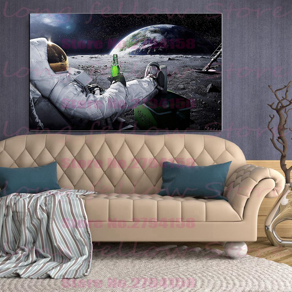 Astronaut with Beer on The Moon Canvas Picture Wall Art Printed Home Decor Artwork Funny Poster Bedroom Drop Shipping
