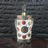 BYH050 Tibet Kolye Tibet Yak Kemik Tibet Nepal Snuff şişe Metal Kapaklı Standı Sanat Colletibles