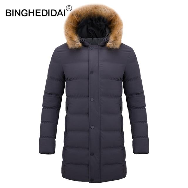 55a56d0f485ea Viento Chaqueta larga hombres abrigo chaqueta de piel Puffer acolchada  algodón de invierno cálido abrigo Parka