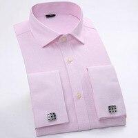 Spring New Men S High End Business French Cufflinks Shirt Brand Cotton Male Blouse Shirt Men