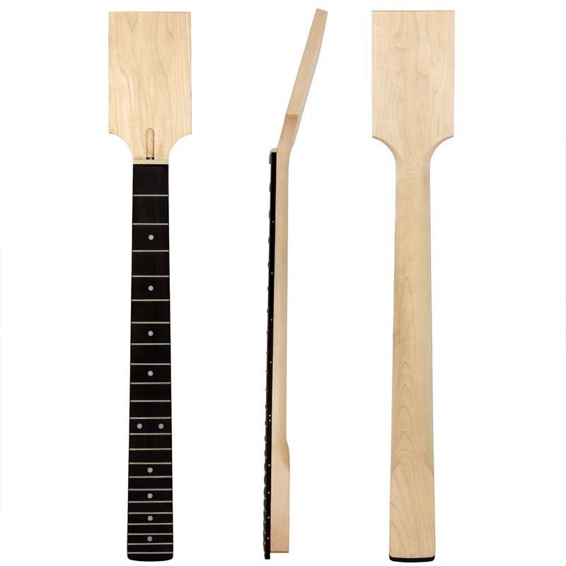 Kmise Electric Guitar Neck DIY Part Unfinished Canada Maple Rose Wood Finger Board 22 Frets
