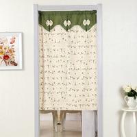 Cartoon Linen New Bedroom Living Room Hanging Curtain Decoration Retro Flocked Door Window Curtain Living Room