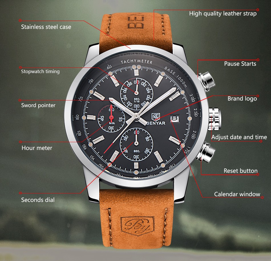 Srebrno-czarny zegarek Benyar BY5102 tarcza