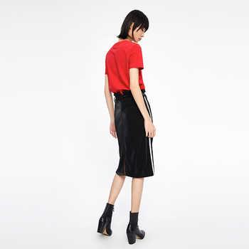 Toyouth Women Bling Striped Patchwork Pencil Skirt Female Spring Summer Basic High Waist Bodycon Split Knee Length Skirts