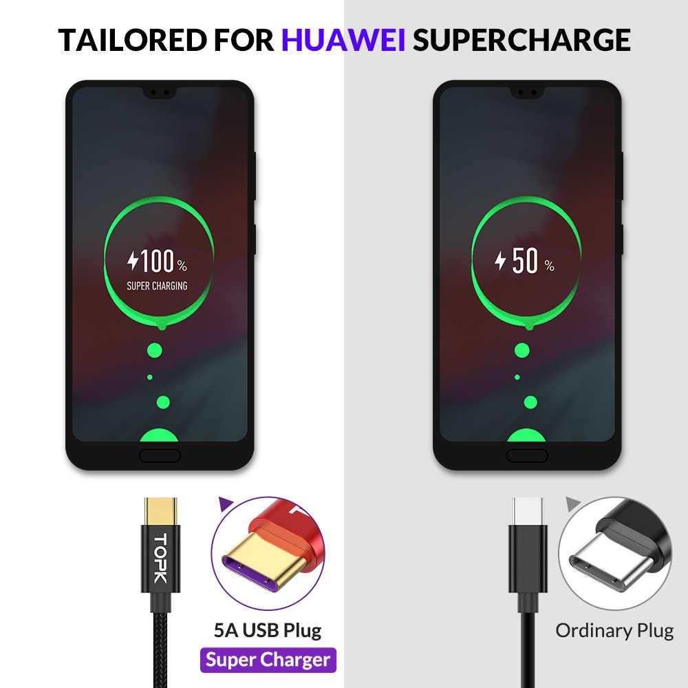 TOPK 5A kabel USB C szybkie ładowanie USB typu C kabel do Huawei Mate 20 Pro Honor 10 9 szybka ładowarka kabel do Samsung Note 9 S9 S8
