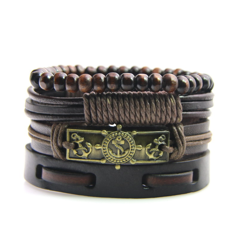 New Fashion Accessory Anchor Bead Adjustable Leather Bracelets & bangles for Women Multilayer Wristband Bracelet Men pulseira