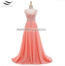 A-line Prom Kleider 2017 V Neck Sleeveless Bodenlangen Chiffon mit Kristall Lange Formale Kleid Perlen Abendkleider (SL-H40)