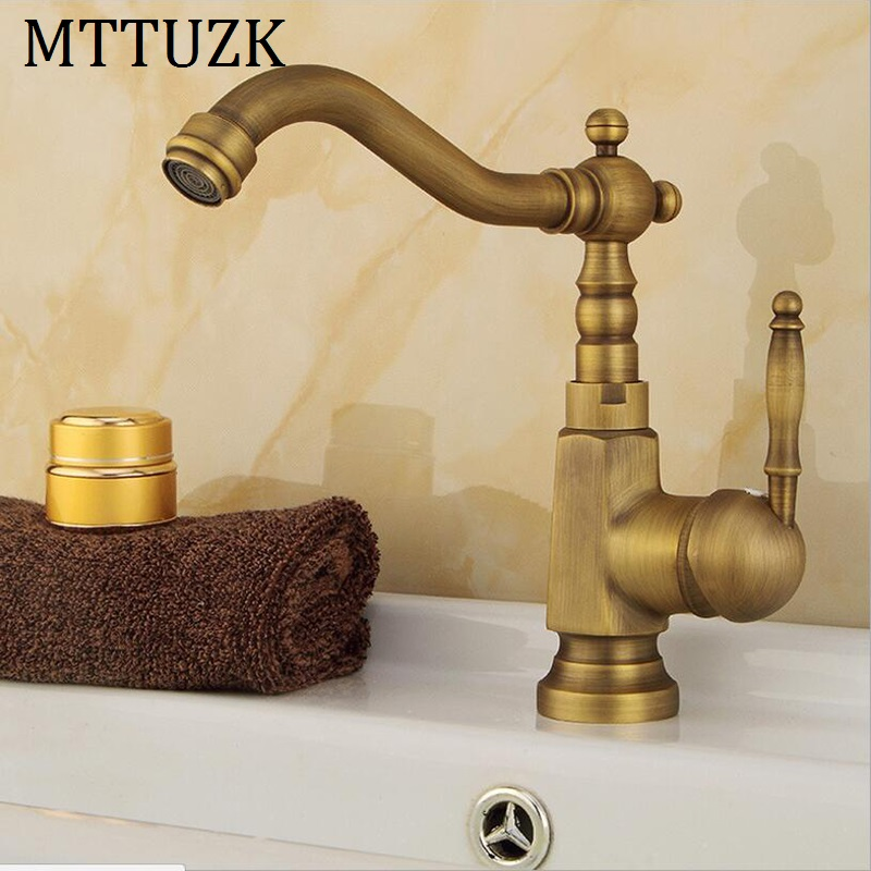 Vidric Antique copper bathroom faucet single handle single hole bathroom table basin hot and cold mixer tap basin faucet
