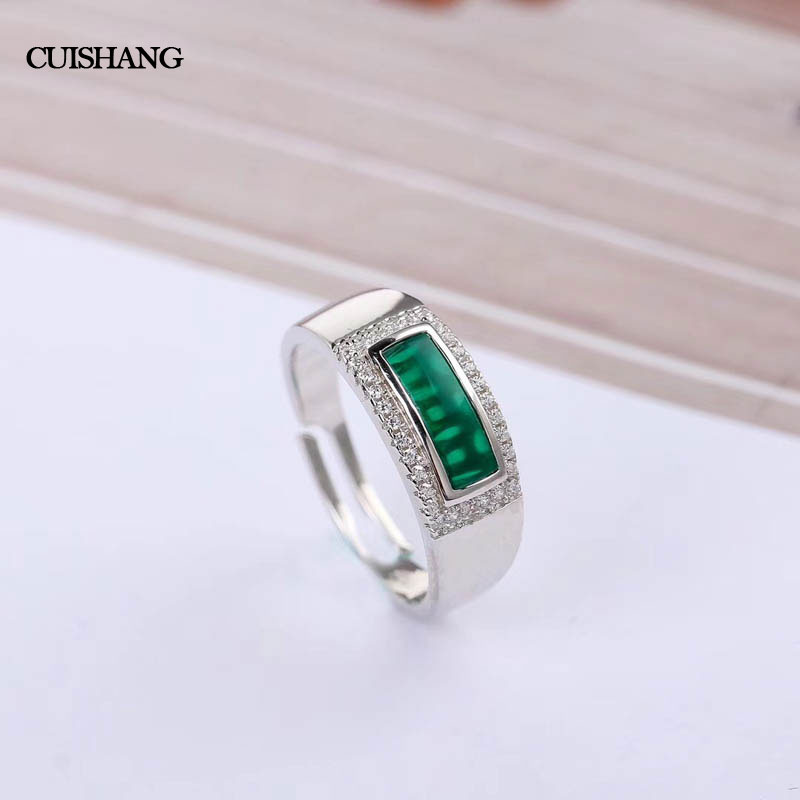 CSJ Green Agate Rings 925 Sterling Silver Engagement Rings For Women Wedding Party Gift Fine Jewelry ethnic wind bracelets men and women decorations green agate 925 silver ball duobao string original jewelry