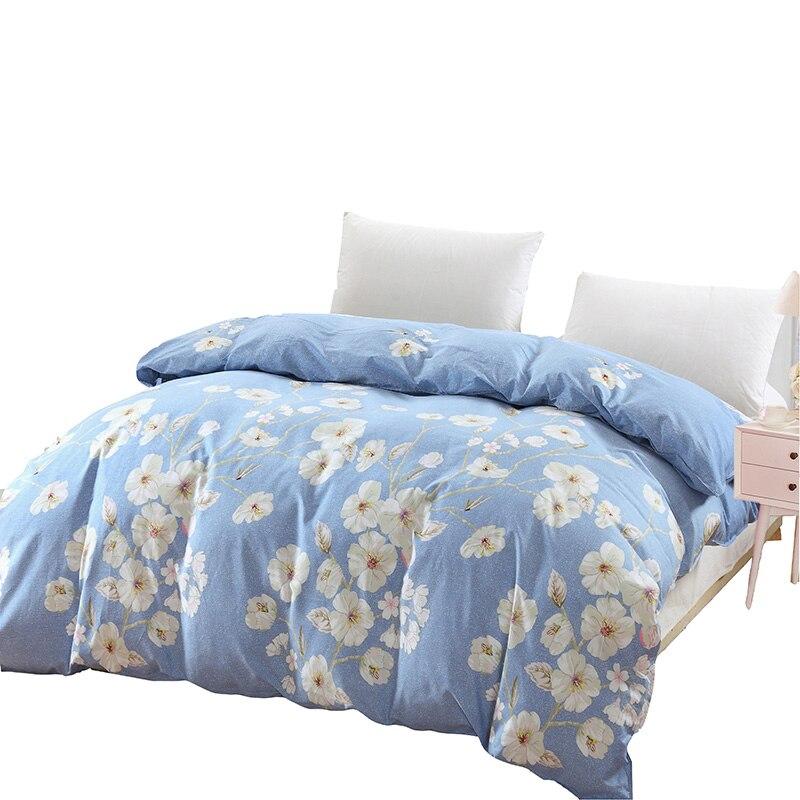 Light Blue + White Print Pattern 100% Cotton Duvet Cover 5 Size Quilt Cover With Zipper 1 Pcs Single Double Comforter Cover