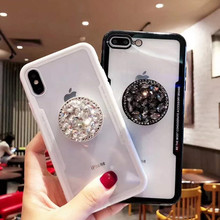 Luxury Fashion Diamond Air 서 홀더 폰 Case 대 한 iPhone X XS Case iPhone 6 7 띌 Sparkle Bling Cover 대 한 Samsung S9 S8(China)