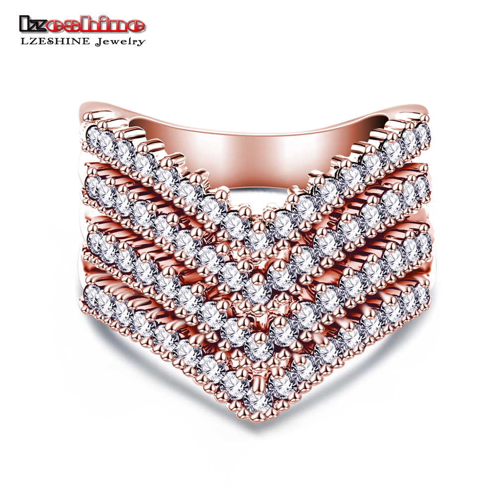 LZESHINE New Fashion Female Wedding Bands Jewelry Rose Gold Color Engagement Ring For Women CZ