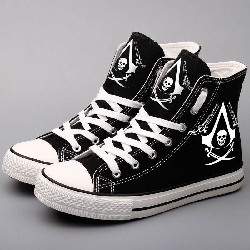 E-LOV Cool Skeleton Printed Canvas Shoes Men Casual Walking Shoes Hip Hop Skull Male Fans Cosplay Hot Game Espadrille