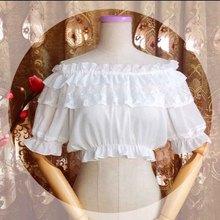 Готический, викторианской эпохи АО Для женщин шифон Топ Sheer с двойным вырезом Короткие рукава-фонарики бежевый/черный/белый Лолита Укороченная блуза