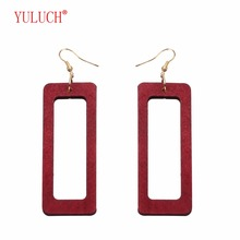 YULUCH 2018 Popular New Design Rectangular Hollow Out  Wooden Earrings Personality Womens Jewelry Gifts
