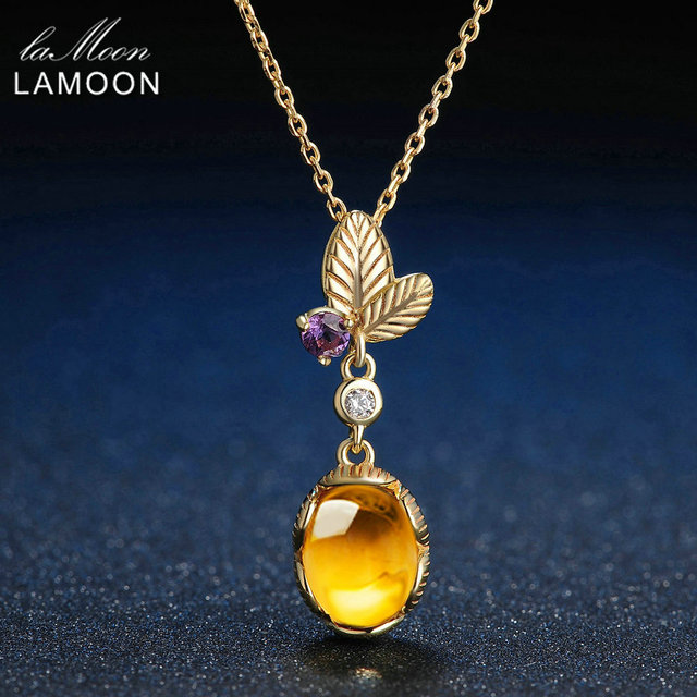 Lamoon long amber pendant necklace 925 sterling silver jewelry 2ct lamoon long amber pendant necklace 925 sterling silver jewelry 2ct natural yellow plants oval citrine mosaic aloadofball Image collections