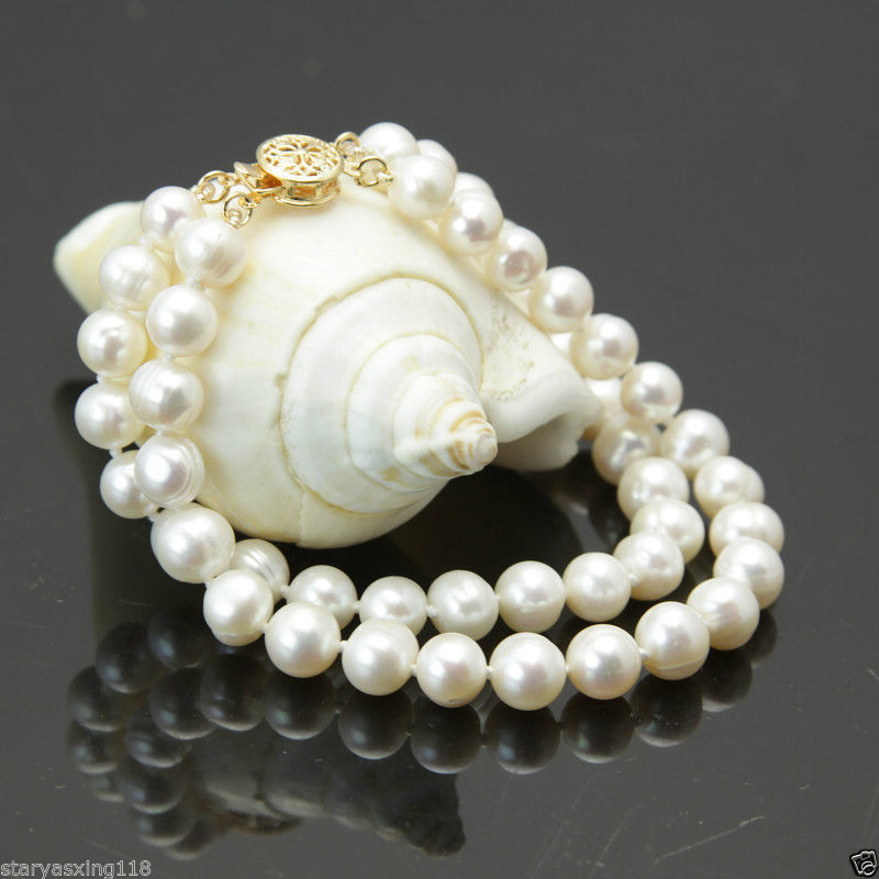 Free Shipping >>>>>New 2 rows 7-8mm white freshwater cultured pearl bracelet 7.5