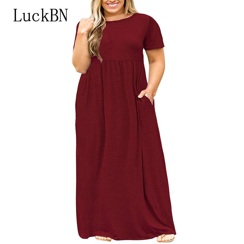 2019 Hot Sales Women O-neck Short Sleeve Long Summer Casual <font><b>Dress</b></font> <font><b>Plus</b></font> <font><b>Size</b></font> 7XL <font><b>8XL</b></font> 9XL Vintage Maxi <font><b>Dresses</b></font> with Pockets Female image