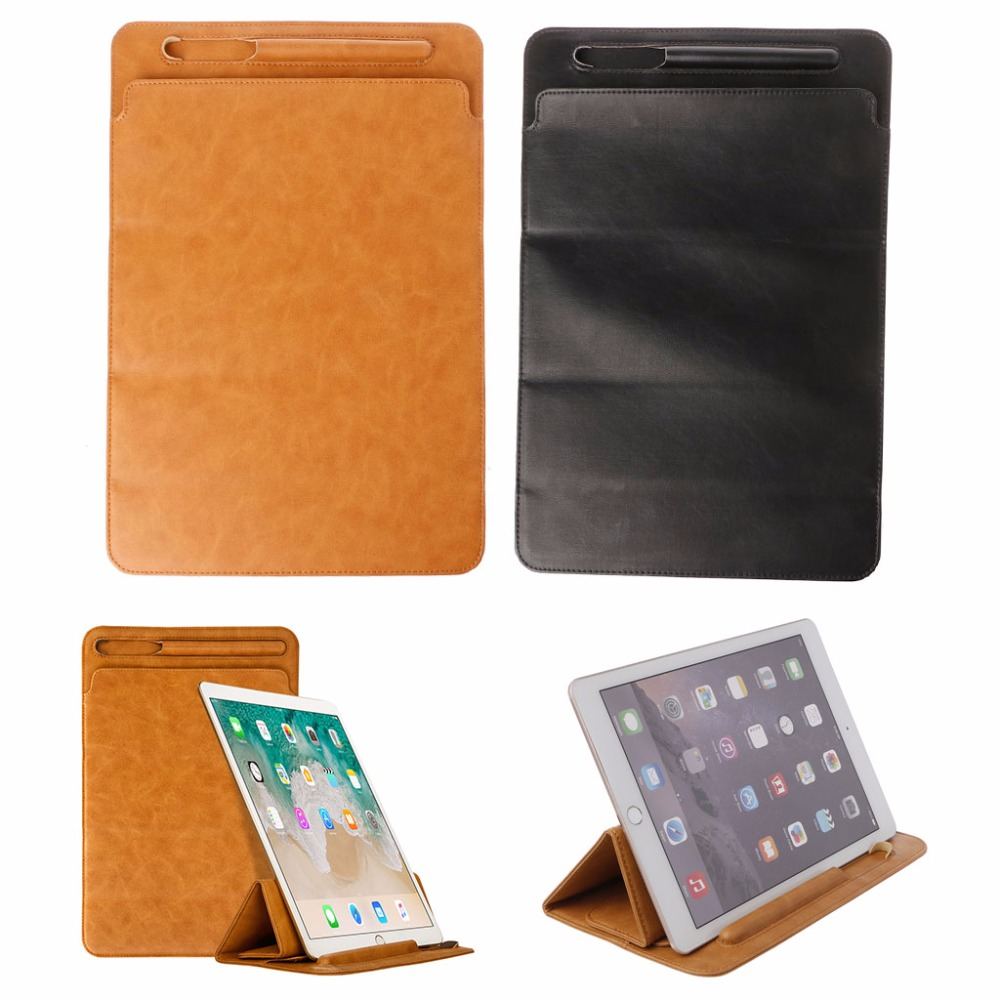 1Pc Luxury Leather Sleeve Folding Cover Case Pouch Bag With Pencil Slot For iPad Pro 10.5 12.9 Tablet Protective Cover C26 radiation proof protective inner pouch bag for ipad tablet pc camouflage green