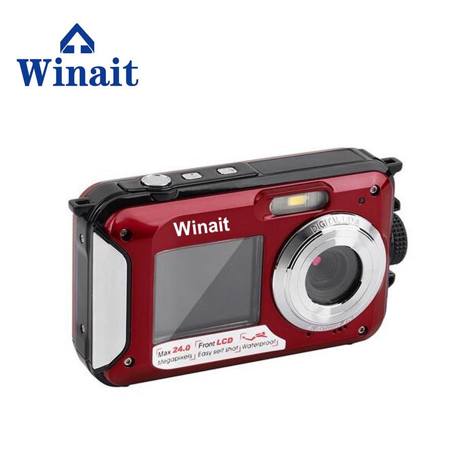 Winait appareil photo numérique étanche 5M 16X Zoom sous-marin HD cam 2.7 pouces LCD CMOS étanche caméras DC double écrans caméra