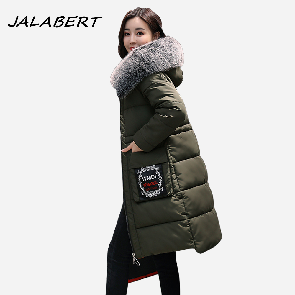 2017 winter new long Slim cotton jacket women Hooded Fur collar warm printing pattern coat Female fashion Solid Parkas winter jacket female parkas hooded fur collar long down cotton jacket thicken warm cotton padded women coat plus size 3xl k450