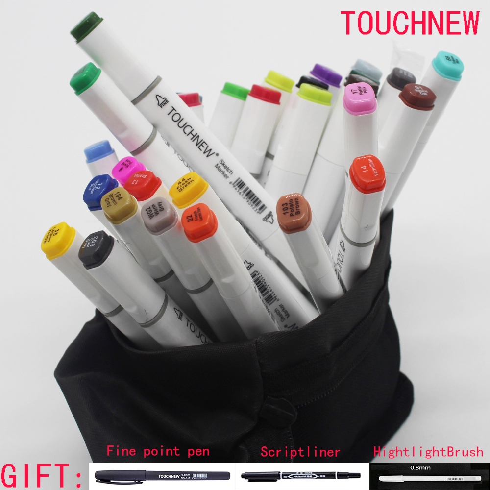 Free shipping six generations two-headed Alcohol oily mark brush pen hand-painted design 30 40 color fine markers micron manga manga design 24 color three generations oily alcoholic paint mark pen permanent marker sketch double headed copic markers