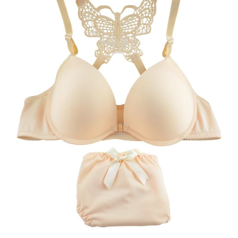2017 New Lace Butterfly Back Sexy   Bra     Set   Seamless Underwire Push up   Bra     Brief     Sets   Lingerie Girls Underwear