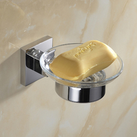 Silver SUS 304 Stainless Steel Glass Cup Smooth Mirror Bathroom Accessories Hardware Set Soap Dish Bathroom
