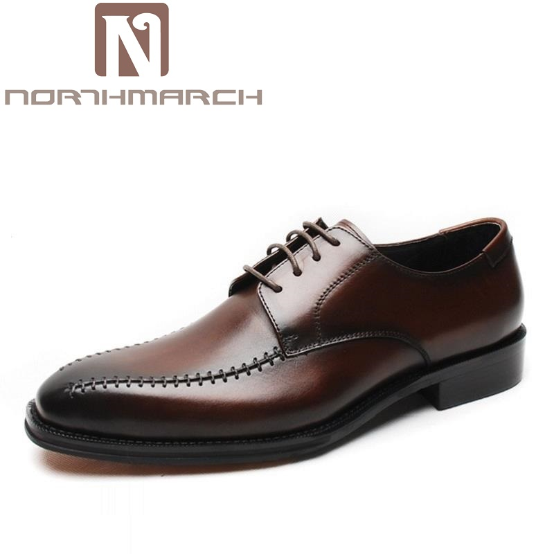 NORTHMARCH Leather Men's Business Casual Shoes Men Oxfords Lace-Up Men Wedding Shoes Dress Black Male Party Autumn Dress Shoes men business dress shoes fashion lace up flats genuine leather formal office loafers party wedding oxfords shoes male walkerpeak