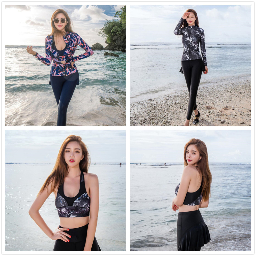 Plus size UV rash guard women swimsuit t shirt crop top vest skirt pant long sleeved