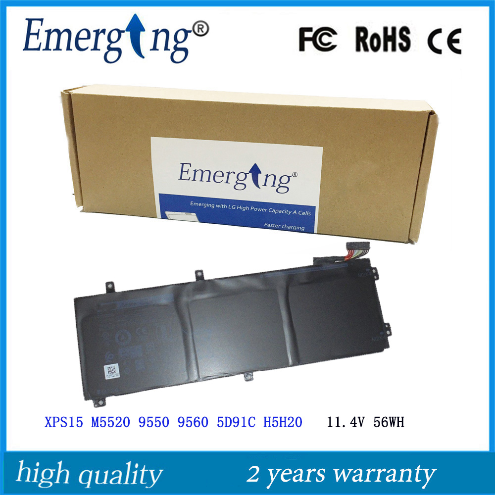 11.4v 56WH New Original Laptop Battery For Dell XPS15 M5520 9550 9560 5D91C H5H20