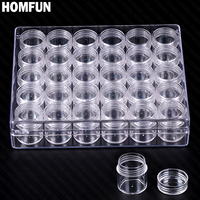 HOMFUN Diamond Embroidery Diamond Painting Tool 30 Lattice Transparent Plastic Storage Box 30 Grid Jewelry Drill