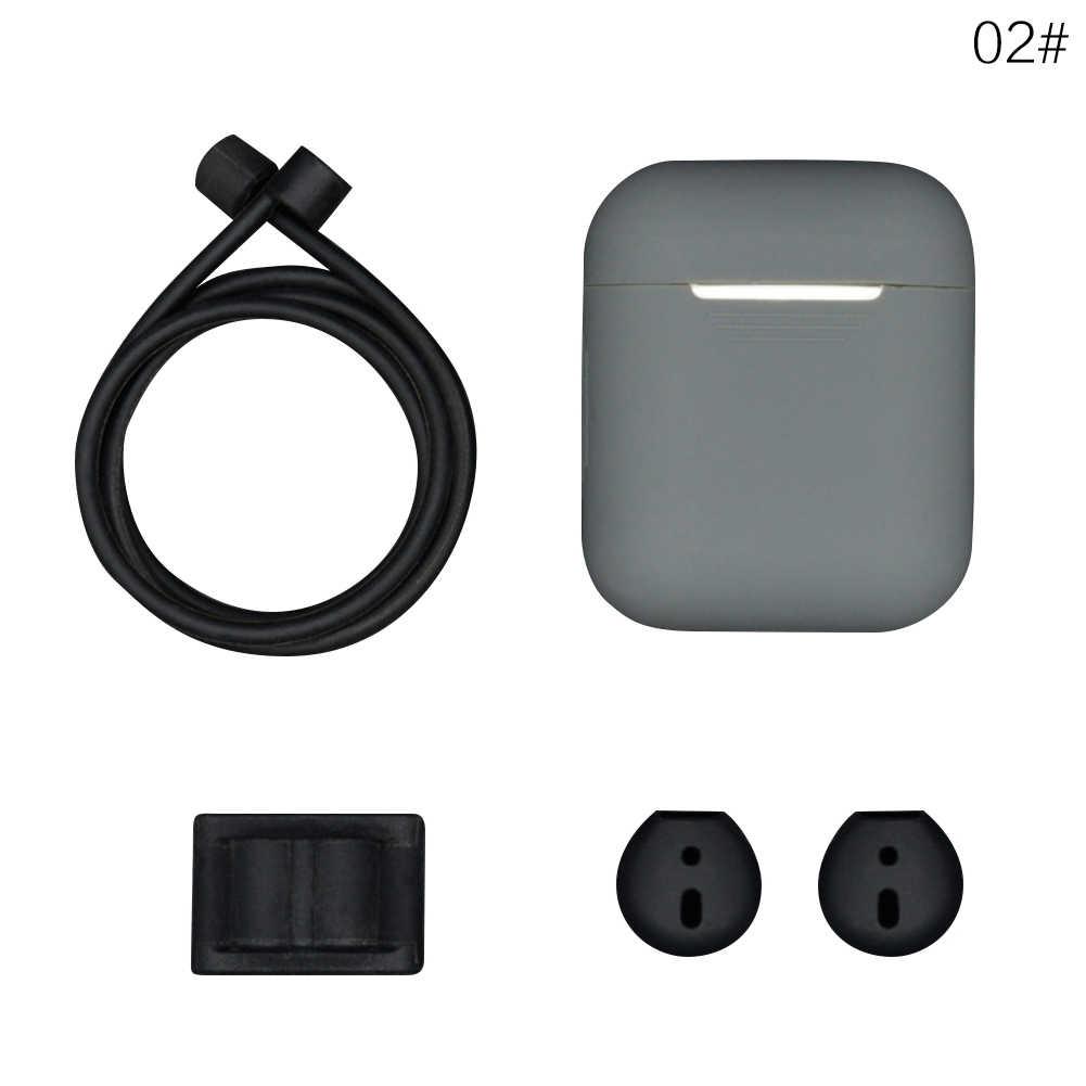 5 In 1 Silikon untuk Airpods untuk iPhone Bluetooth/Wireless Earphone Anti-Lost Pelindung Penutup Case Earhook Aksesori 60%