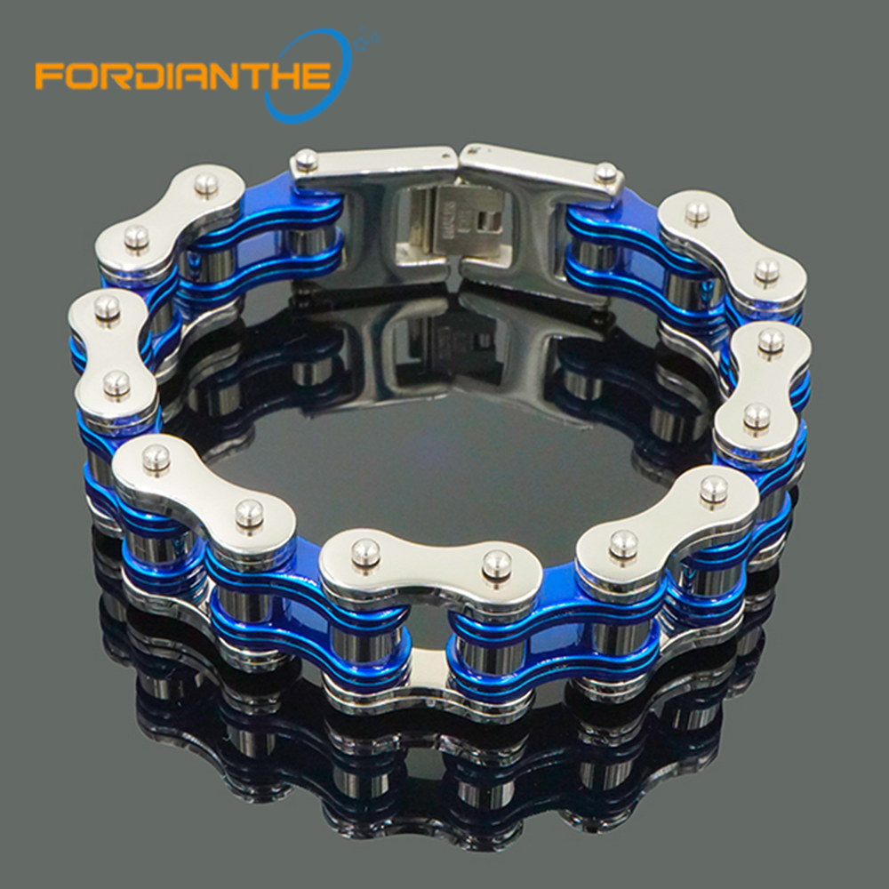 New Motorcycle Chain Bracelet Men Cool Biker Bicycle Casual Blue 21.5cm Men's Bracelets & Bangles Stainless Steel 316L Jewelry punk 316l stainless steel bracelet men biker bicycle motorcycle chain men s bracelets mens bracelets
