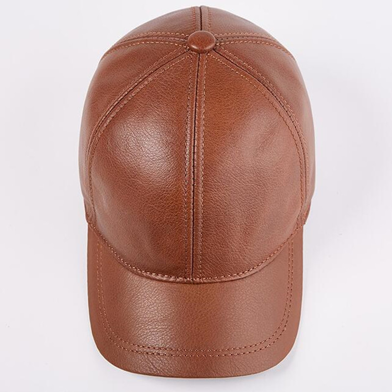 XdanqinX Men 39 s Autumn Winter Single Warm Genuine Leather Baseball Caps New Adjustable Size Youth Cowhide Leather Visor Brand Cap in Men 39 s Baseball Caps from Apparel Accessories