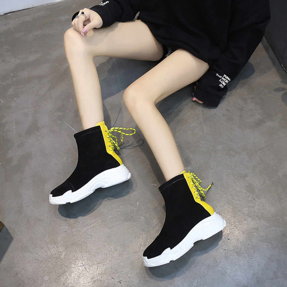 YOUYEDIAN สีดำ ankleLeisure ผู้หญิงรอบนิ้วเท้าแบนรองเท้าหนาด้านล่างด้านหลัง Tie Non - Slip รองเท้าสั้น stiefeln damen elegant # G30