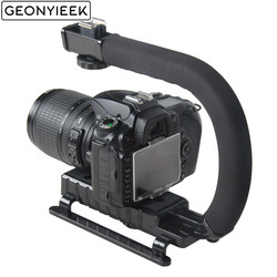 C em forma de suporte aperto de vídeo handheld estabilizador para dslr nikon canon sony câmera e luz portátil slr steadicam para gopro