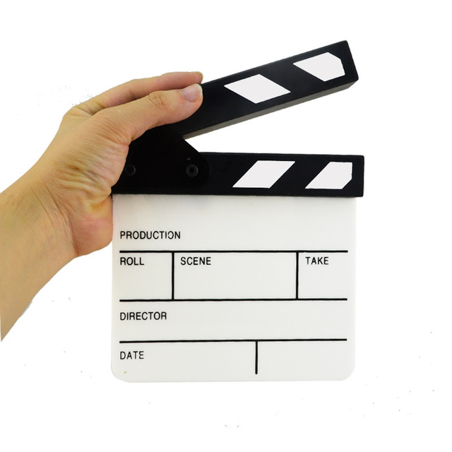 Acrylic Generic Slate Cut Prop Clapper Board 16.5*15 Video Scene Role Play Dry Erase Director TV Movie Action Film Clapperboard