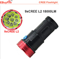 high 9 CREE L2 U2 led flashlight 18000LM 9L2 X CREE Flash light rechargeable 18650 Torch  lamp