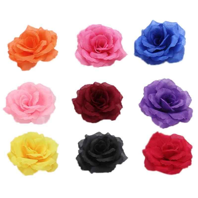 Baru 5 Pcs/set 8 Cm Buatan Simulasi Tinggi Mawar Sutra Bunga Kepala Bunga Dinding Bunga Pilar Diy Pernikahan Rumah Meriah pesta