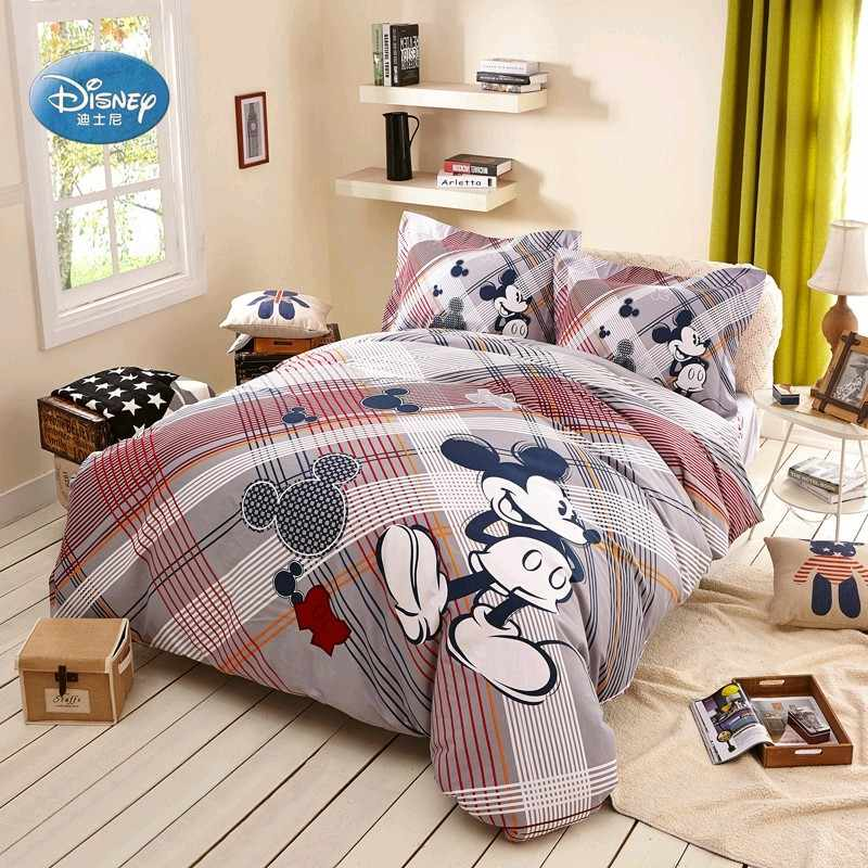 Disney Mickey Mouse 3d Kandang Untuk Striped Kotak Kotak Seprai Untuk Dewasa Anak Dekorasi Kamar Tidur Duvet Cover Set Qulit Set Tempat Tidur Aliexpress