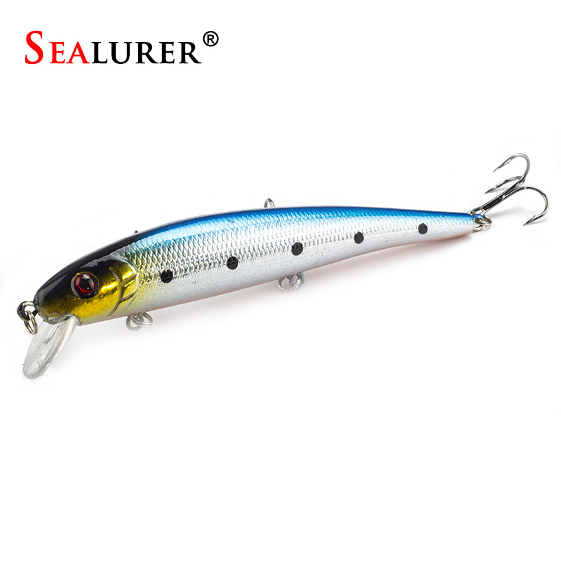 Sealurer Märke Livlig Minnow Fishing Lure 13cm 19G Wobbler Carp Crankbait Konstgjord Japan Pesca Hard Bait Fishing Tackle