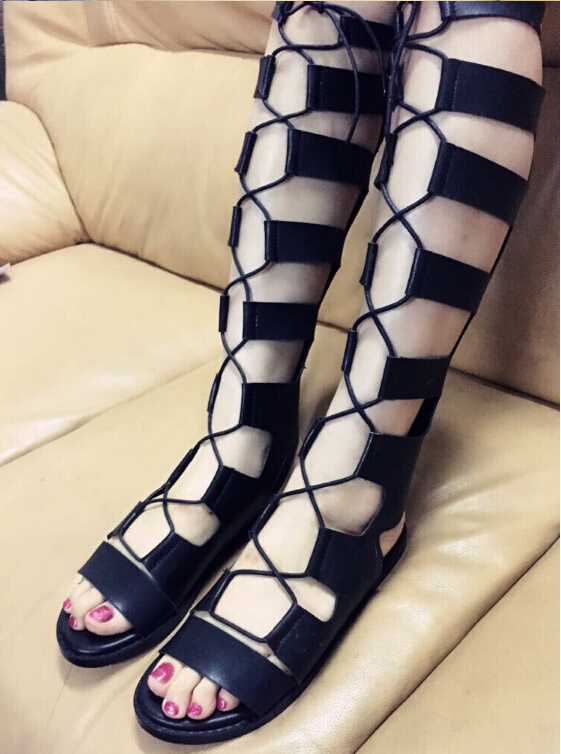 0723c1af5 Lace Cutout Peep Toe Knee High Gladiator Sandals Boots 2018 New Arrival  Open The Toe Cut Out Elevator Women ...
