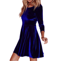 2XL Sexy Ladies Solid O Neck Long Sleeved Mini Dress For Evening Party Cocktail Sexy Vestidos