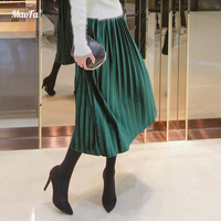 2018 New Spring Women Suede Skirt green Long Pleated Skirts Womens Saias Midi Faldas Vintage Women Midi Skirt