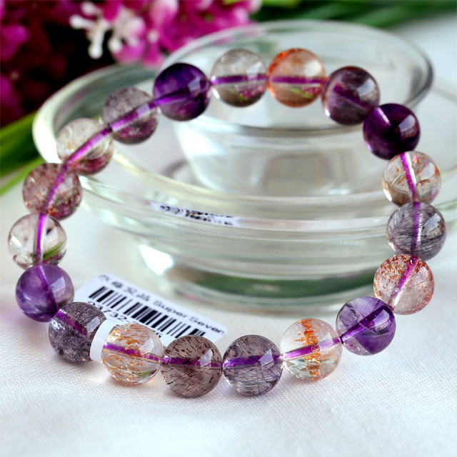 High Quality Natural Genuine Multi Colors Mix Super Seven 7 Finish Stretch Bracelet Round Beads Melody Stone 10mm 03732