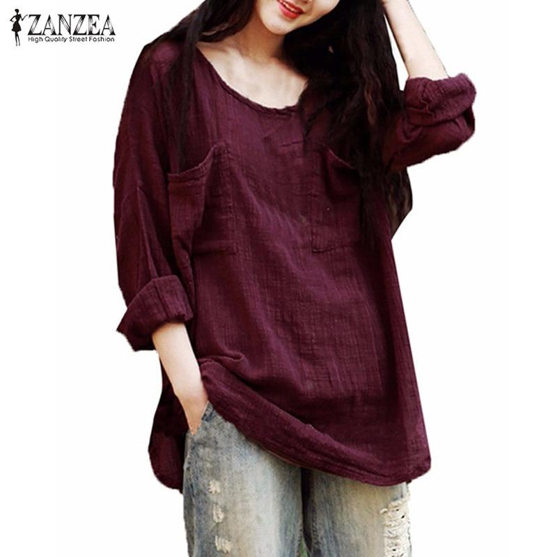 ZANZEA Vintage Blusas Fenmininas 2019 Sonbahar Kadın Bluz Casual Gevşek Gömlek O Boyun Uzun Kollu Cepler Katı Tops Artı Boyutu